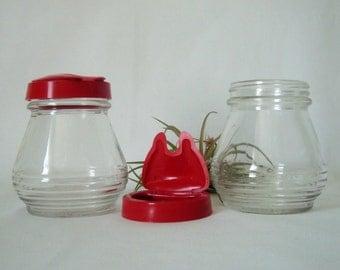 Hazel Atlas Condiment Jars Red Lids Set of 2 for Jam Honey Sugar