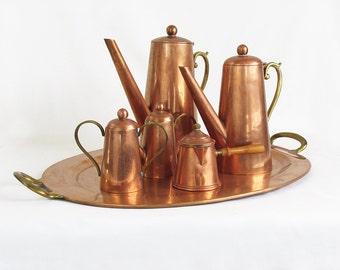 Mid Century Copper & Brass Coffee - Tea Serving Set