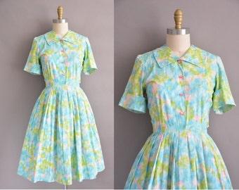 50s cotton water color print vintage dress / vintage 1950s dress