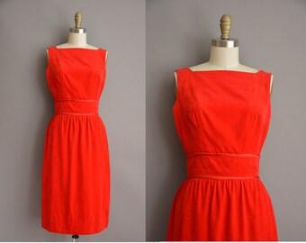50s Toni Todd red velvet vintage wiggle dress / vintage 1950s dress