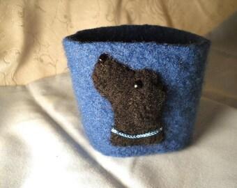 Black Lab Felted Wool Coffee Cozy