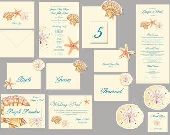 Shell Wedding Paper goods decorations place cards table numbers menus programs