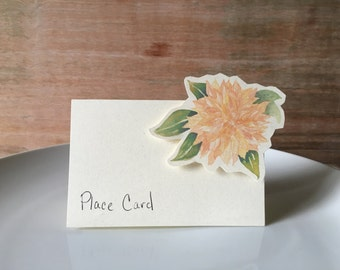 Peach Dahlia Place cards - for events weddings, parties and holiday entertaining