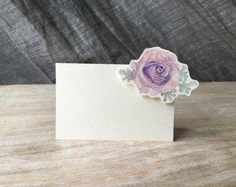 Purple rose- Small Tented Card - Place card, escort card for events, parties, weddings
