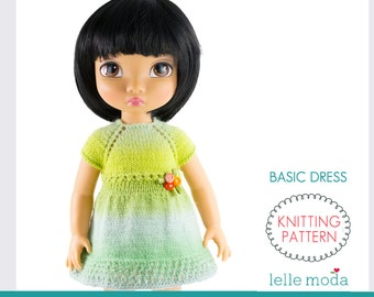 Disney Animators Doll Clothes, Knitting Pattern, 16 inch Doll Clothes - Basic Dress for Animator Doll , Dolls Dress Pattern