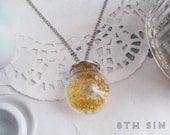 Antique Silver & Yellow Dried Flower Terrarium Necklace, Yellow Dried Flower Necklace, Wild Flower Necklace, Yellow Flower Necklace