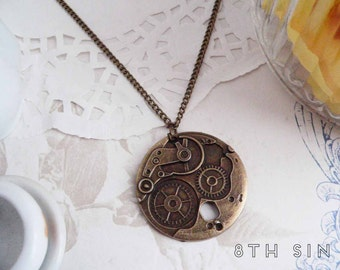 Antique Bronze Gear Necklace, Steampunk Gear Necklace, Steampunk Necklace, Steampunk Gift, Clockwork Necklace, Engineer Gift, Brass Gears