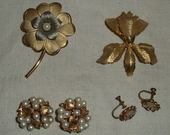 Two Vintage Brooches and Two Earrings