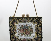 Holiday SALE .50 off Vintage petite hand beaded tapestry purse kiss closure