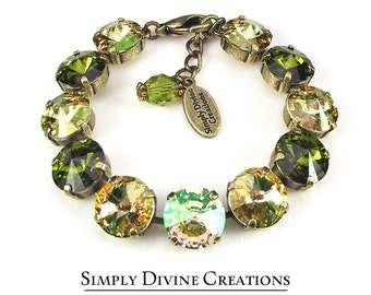 Swarovski Bracelet, LUMINOUS GREEN  12mm Swarovski Crystal Rivoli Bracelet Made With Swarovski Elements, Statement Bracelet