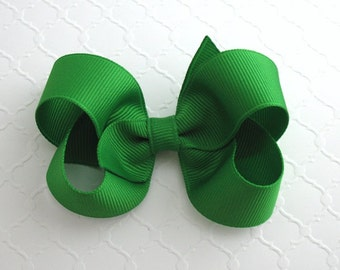 "3"" Emerald Green Hair Bow ~ St. Patricks Day Hair Bow ~ Baby / Toddler Hair Bows ~ Classic Hair Bows"