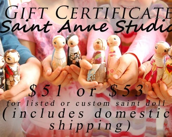 Gift Certificate for Saint Anne Studio - Listed or Custom Peg doll