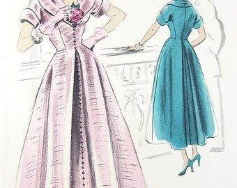 ON SALE Vogue 1940s Couturier Design Dress Pattern - Vogue 494 - Misses' One-Piece Dress - SZ 14/Bust 32