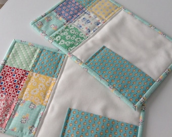 30's Reproduction Quilted Mug Rugs  Set Of 2
