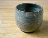 Stoneware Wine Cup - Clay Tea Cup - Yunomi - Pottery Juice Cup - Ceramic Cup - Blue - Small Cup - Stemless Wine Cup