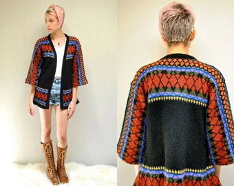 70s Southwest Cardigan  //  Bell Sleeve Sweater  //  BANJO SONG