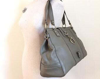Banana Republic Purse - Tote Bag - Vintage Shoulder Bag - Sage Green Bag - Leather Purse