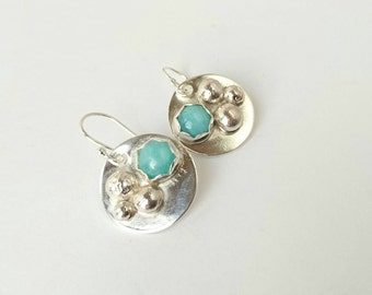 Sterling silver handmade amazonite disc earrings, hallmarked in Edinburgh