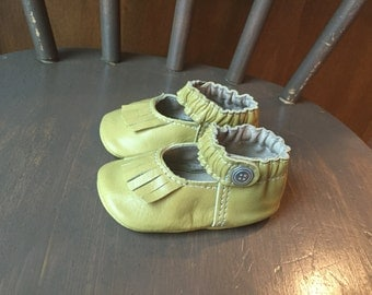 Baby Shoes Fringed Mary Jane Moccasin Soft Sole Shoe in Mustard Yellow Leather