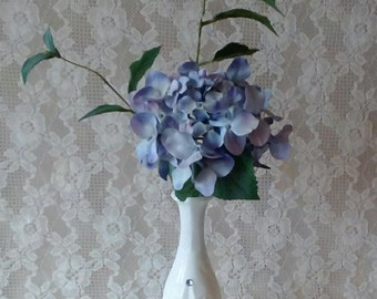 Small Spring Arrangement, Mother's Day, Table Top Arrangement, Lavender Hydrangea, Shabby Cottage, Milk glass vase, Romantic Cottage