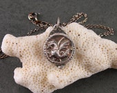 Tiny dragon pendant, handmade eco friendly fine silver antique button necklace-OOAK