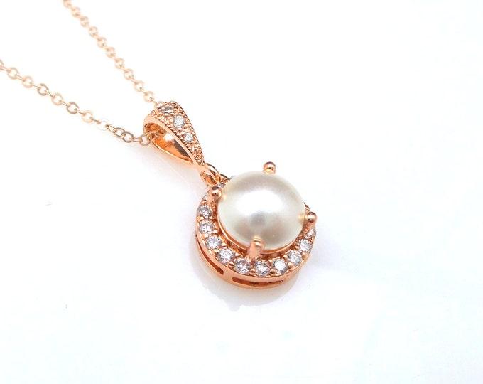 wedding jewelry bridal necklace prom bridesmaid party white cream 8mm swarovski half round pearl drop halo necklace rose gold silver chain