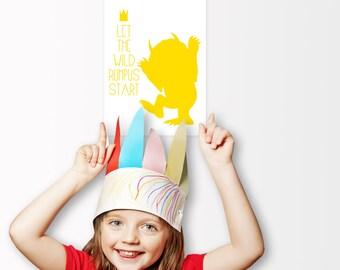 Let the Wild Rumpus Start Poster , Nursery Art, For Girls, For Boys, Large Poster, Oversized Art Work, Trending Items, Trending Now