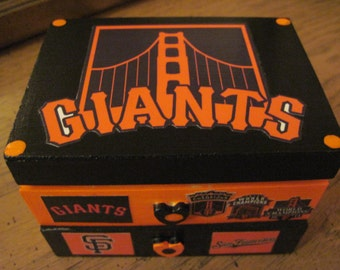 San Francisco Giantsl Hand Crafted Decoupaged Wooden Trinket Keepsake Jewelry  Box