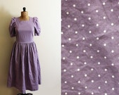 vintage dress laura ashley 80s polka dot purple puff shoulder 1980's cotton womens clothing size medium m 8