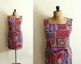 vintage dress 1980s womens clothing tribal ethnic print red purple sleeveless summer size m medium