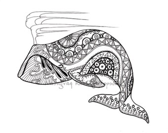Spring Whale - Hand drawn Alaska Native Coloring Page - download PDF and print at home