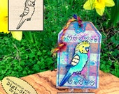 Budgie Digital Stamp - Bird Digistamp - Happy Budgie Digital Stamp - Parakeet Coloring Pages- Printable Stamp- Clip Art - Printables