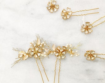 Bridal Hair Pins - Rhinestone Hair Pins   | ivory and  gold wedding | Bridesmaid hair pins