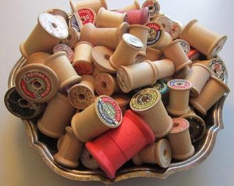 117 vintage wooden spools - empty thread spools