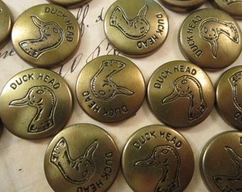 20 vintage DUCK HEAD rivet style button fronts - metal