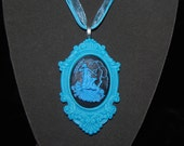 Blue and Black resin cameo Diana (Artemis)/Goddess Necklace - FREE USA SHIPPING
