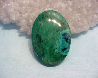 56ct Chrysocolla Stone Cabochon Oval 36.5mm Vibrant Green Blue Jewelry Supply Lapidary 16T77
