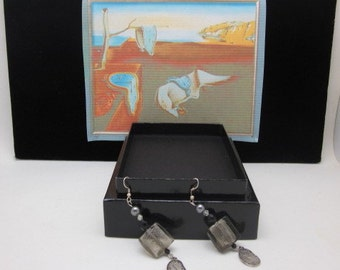 Dali dripping clocks grey silverfoil square beads dripping clocks charms
