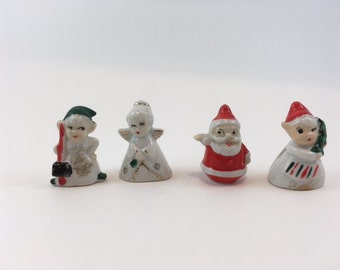 Set Of Four Ceramic Christmas Santa Elf Angel Placecard Holders 1963