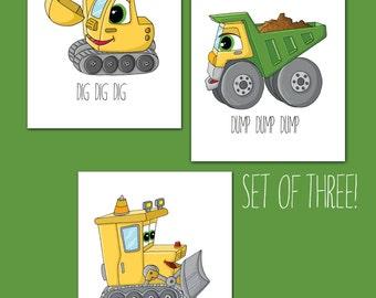 Construction Theme, Boys Wall Art, Children's Art, NURSERY decor, Dump Truck, Bull Dozer, Digger, Set of Three