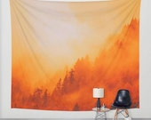 Fiery Landscape Tapestry, Vibrant Hot Orange Wall Tapestry, Mist Swept Hills Wall Tapestry,Forest Home Decor,Minimalism,On Fire Fog Tapestry