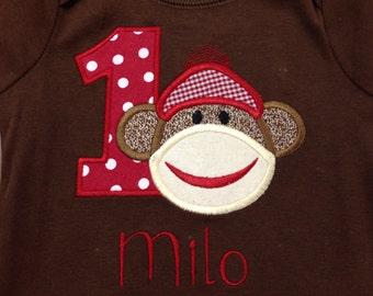Sock Monkey Birthday Shirt or Onesie, 1st Birthday