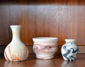 vintage southwest nemadji pottery vase collection - set of three