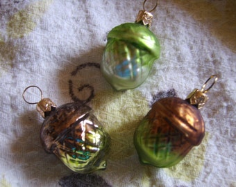 Set of Three (3) Made in Poland Glass Acorn Fall Miniature Holiday Thanksgiving Christmas Ornaments