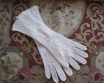 Vintage White Cotton Crochet Elbow Length Bridal Gloves w Buttons  Bride Wedding