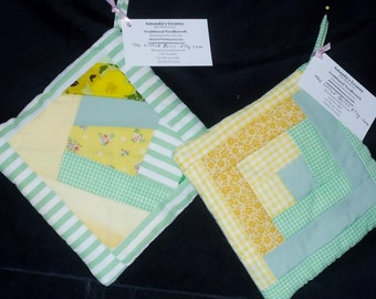 POTHOLDER (37) Green Yellow Scrappy/Log Cabin, Crazy Quilt Traditional Patttern/GA Mountain Made/Cabin/Lodge/Patchwork/Quilt Collector