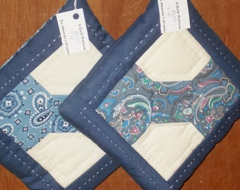 POTHOLDERS (25)  Blue White 'BowTie' Traditional Quilt Design, Hand Quilted, Masculine, Manish, Made in US, Fathers Day Gift,