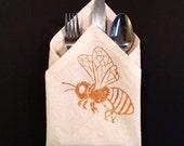 Set of 4 Cloth Napkins - 55 Hemp / 45 Organic Cotton Blend - Honey Bee