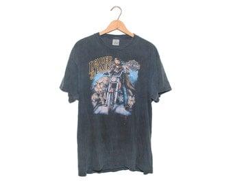Vintage Leader of The Pack 3D Emblem Harley Davidson New York Black 100% Cotton T-shirt - XL