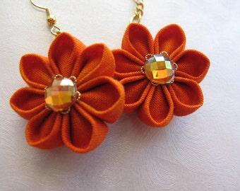 Sunset Orange Kanzashi Earrings MountainMusings